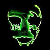 Queta Máscara LED Halloween, Máscara de iluminación Máscara de Miedo Cráneo Luminoso EL Wire Máscara de luz Fiesta de Disfraces de Carnaval Festivo (Verde Fluorescente)