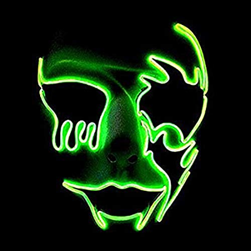 Queta Halloween Maske LED Beleuchtung Maske Scary Maske Leuchtenden Schädel EL Draht Leuchtmaske Fest Karneval Kostüm Party (Fluoreszierendes Grün)