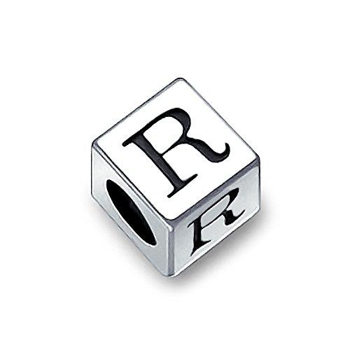 Block Letter R Alphabet Initial Charm Bead For Women For Teen 925 Sterling Silver For European Bracelet