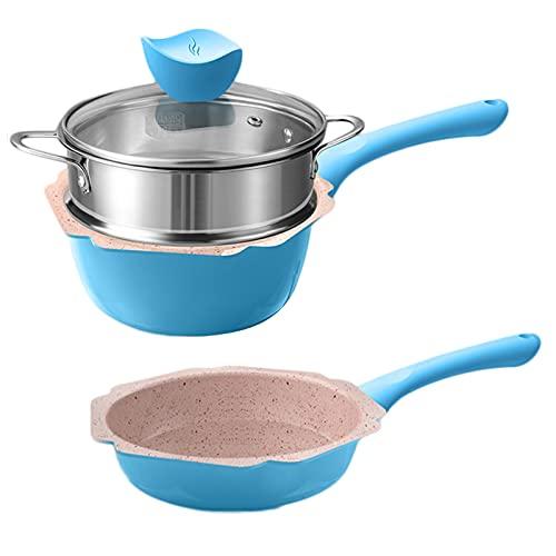 MANO 2-Piece Ceramic Cookware Set Pots and Pans Set Nonstick Dishwasher Safe Mini Saucepan Frying pan Milk Pot Egg pan for Baby Kids Food Cooking,blue