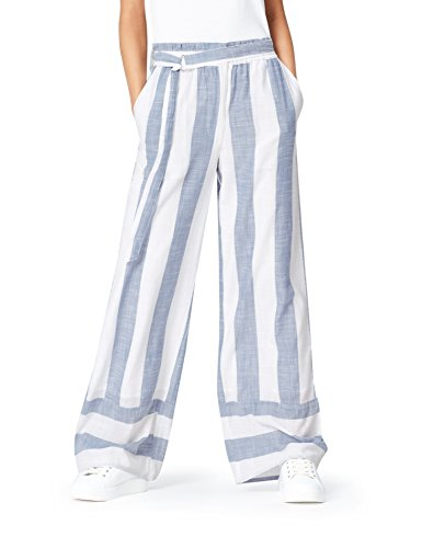 Marchio Amazon - find. Pantalone in Lino a Palazzo Donna, Blu (Ecru Blue), 44, Label: M