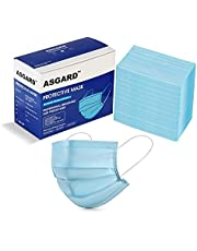ASGARD 3 Layer Protective Face Mask with NOSE CLIP, Certified by CE, ISO & GMP with Bacterial Filtration Efficiency(BFE)?98.5%, (Blue, BOX SEALED PACKAGING)