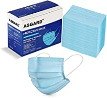 Asgard Melt-Blown Fabric Disposable Face Mask with Nose Clip (Blue, Without Valve, Pack of 50) for Unisex