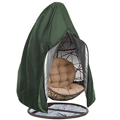 MOZX Hanging Egg Chair Cover Waterproof, 210D Oxford Fabric Outdoor Protective Cover, Swing Chair Dust Cover Protector with Zipper for Swing Chair Rattan Furniture Patio, 190X115cm,Green