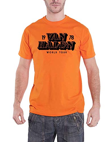 Men's Van Halen 1978 Worl Tour T-shirt, Orange, S to XXL