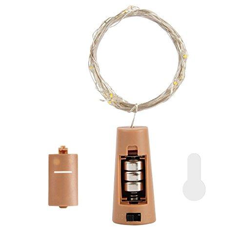 Filo di rame LED luci di bottiglia con sughero 2m con 20LED luce catene per bottiglia fai da te decorazione, Outdoor BBQ, da collezionare, Party, Matrimonio, Vacanze (bianco caldo) (Confezione da)