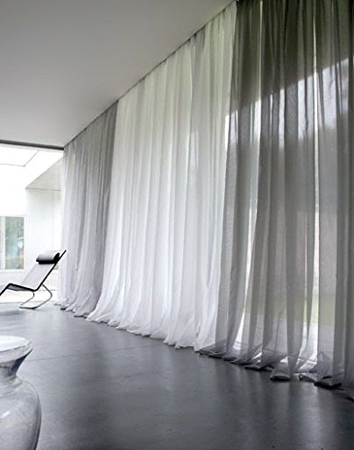 """Empire Home Solid Pure White Sheer Voile Curtain Window Curtain Panel/Valance (120"""" Super Long Panel)"""