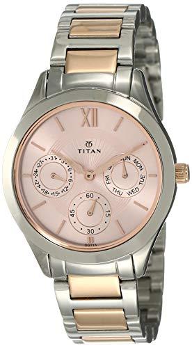 Titan - Reloj analógico para mujer, esfera de oro rosa, 2570KM01