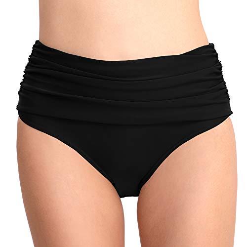 PANAX Damen Mädchen Badehose in Schwarz, Größe L - Urlaub Bikinihose mit Faltendesign Swimwear Tankinihose