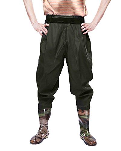 Xinwcang Imperméable Professionnels Waders de Pêche Cuissardes PVC Etanche Pantalons Bottes de Pêche Vert2 43
