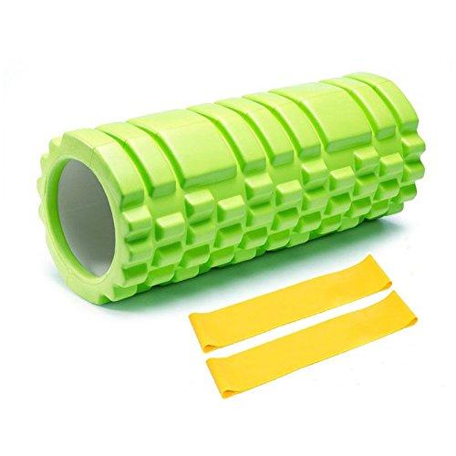 Ruanyi Faszienrolle Schaumstoffrolle Gegen Muskelverspannung & Muskelschmerzen für Faszientraining - Myofasziale Entspannung Rücken Nacken,+2 Stück Widerstandsbänder ( Farbe : Green )