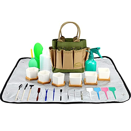 G GOOD GAIN 42 Pieces Succulent Tools Kit with Bag, Succulent Kit, Bonsai Tools Set  Set of 6 Succulent Planter Garden Pots with Bamboo Tray Ceramic Succulent Pot Transplanting Work Mat Tools Set