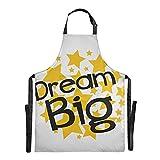 Zemivs Dream Big Star Label Sign Star Chef Gartenschürze Einstellbar 88x68cm Gartenschürze...