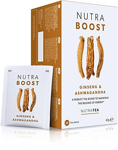 NutraBoost - Tee zur Förderung von Energie & Konzentration - Natürlich & bekömmlich - Grüner Tee mit Ginseng, Gotu Kola, Guarana - 20 verpackte, wiederverwendbare Teebeutel - Kräutertee - Nutra Tea