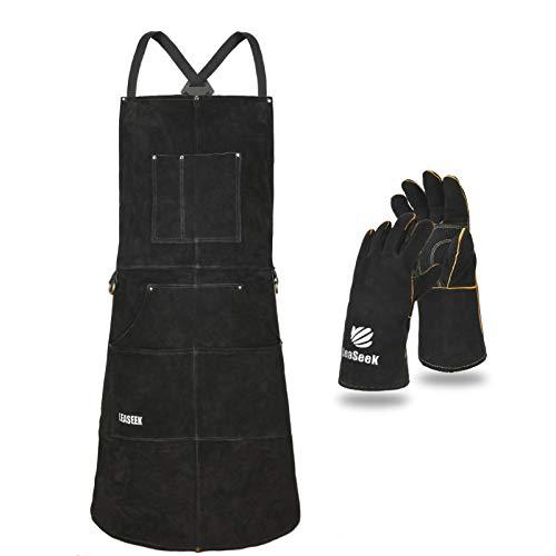 Delantal de trabajo de cuero con guantes – 6 bolsillos para herramientas para hombres y mujeres – Delantal de soldadura – Ideal para carpintería, herrería, jardineros, mecánicos, barbacoa