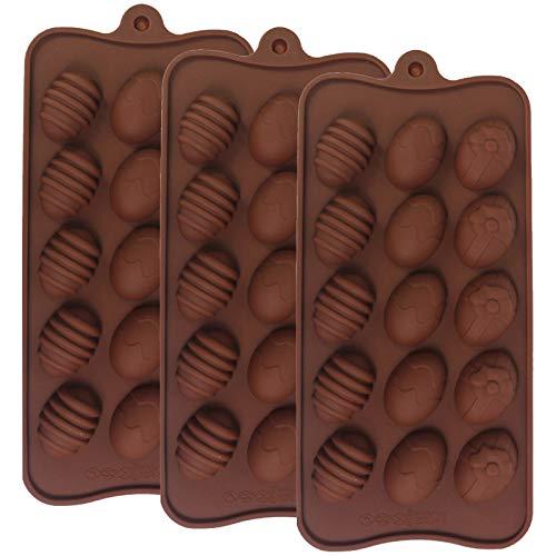 Stampo 3D per Cioccolato Uova Ghiaccio Stampo per Silicone Uova Set di Stampi per Biscotti a Pasquale Forma Uova Pasqua Stampo 3 Pezzi per Uova Pasquaper Biscotti,Cioccolato,Tortini,Muffin,Pudding