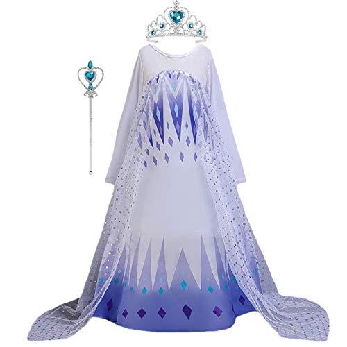 O.AMBW Elsa Disfraz niña Princesa Falda Nieve Reina 2 Degradado Azul Blanco Malla Vestido de Manga Larga Fiesta de Halloween Fiesta Cosplay cumpleaños Mascarada Vestido y Corona Varita