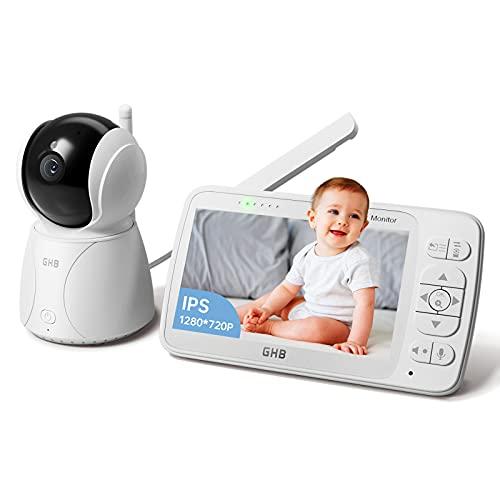GHB Babyphone mit Kamera 5 Zoll Babyphone HD 720P Bildschirm 350 ° Weitwinkel ECO Gegensprechen Nachtsicht Schlaflied Zoom