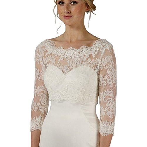 Kengtong Damen 3/4 Langer Ärmel Weiß Hochzeit Top Spitzen-Jacke für die Braut Spitzen Bolero Bolerojäckchen Jacke (Elfenbein, 32-38)