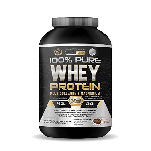 Whey protein isolate 100% pura | Proteine whey isolate + collagene + magnesio | Proteine del siero di latte isolate per lo sviluppo muscolare | Massa muscolare pulita | 30 dosi al gusto di cioccolato