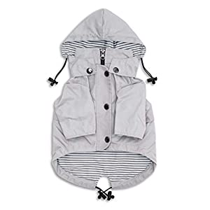 Ellie Dog Wear Zip Up Light Gray Dog Raincoat with Pockets, Water Resistant, Adjustable Drawstring, Removable Hoodie – Size XXS to XXL Available – Stylish Premium Dog Raincoats