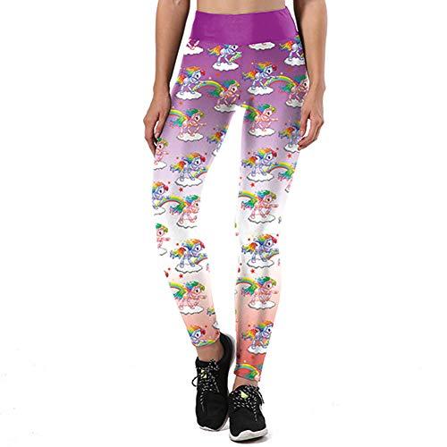 YUYOGAP Leggings para Mujer Unicornio 3D Impreso Leggins Deportivos Graffiti Love Shape Legging Fitness Pantalones De Cintura Alta
