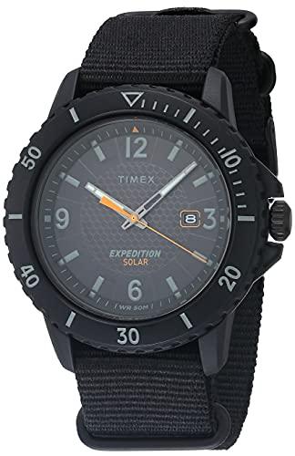 Timex Men's TW2U30300 Expedition Gallatin Solar Black Fabric Slip-Thru Strap Watch