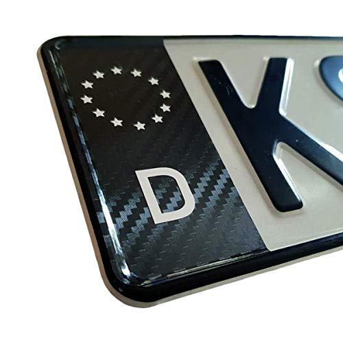Dr.Shield 1x Kennzeichen Aufkleber Carbon Schwarz Sticker EU Feld Tuning Nummernschild (Carbon)