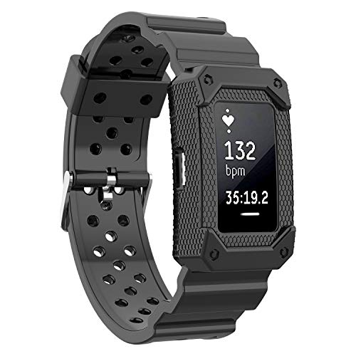 Moretek for Charge2 Band Tough Hard Hybrid Cover Dual Layer Armor Defender Case Wrist Strap for Fitbit Charge 2 Replacement Bands (Black)