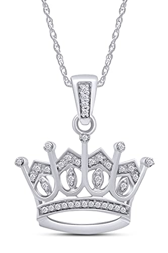 Jewel Zone US Natural Diamond Crown Pendant Necklace in 14K White Gold Over Sterling Silver