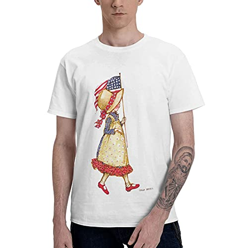 COOTHING Holly Holly Hobbie Blue Mens Lightweight Casual Printed Basic Slim Fit White Tees Clothes