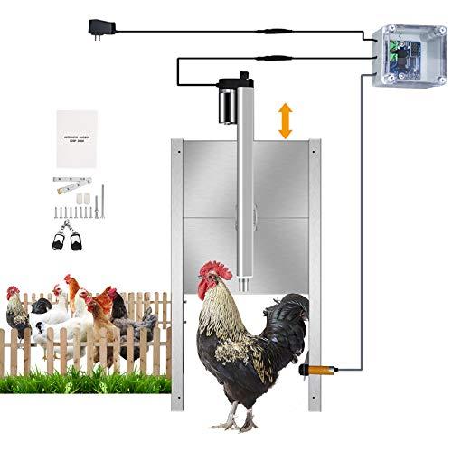 TTLIFE Kit apriporta automatico per pollaio, sensibilità + tempismo, apriporta Premium Coop, porta per polli in metallo per impieghi gravosi / porta pop-hole resistente ai predatori