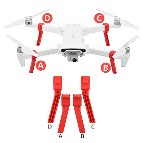 Fahrwerk für Stoßdämpfer mit verlängertem Stativ für höheres Bein Kompatibel mit Xiaomi FIMI X8 SE-Drohne - Ultraleichtes Gewicht, effektive Höhe um 2,6 cm erhöht (Rot)