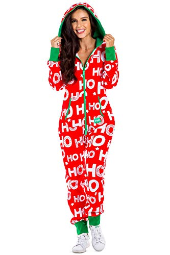 Women's Cozy Christmas Onesie Pajamas - Red HoHoHo Santa Adult Cozy Jumpsuit: Small