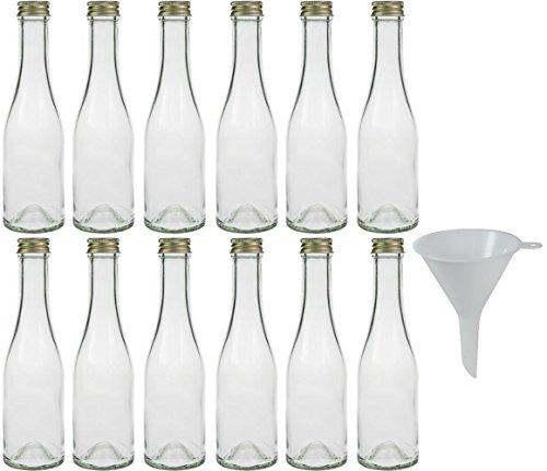 mikken 12 botellas de cristal de 200 ml con tapón de rosca y embudo.