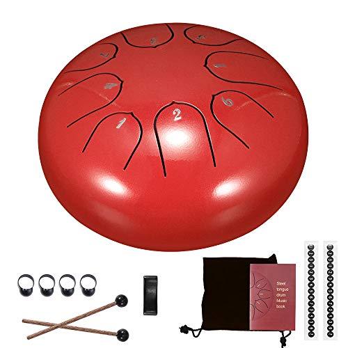 HITECHLIFE Juego de tambor de lengua de acero de 6 pulgadas, 8 notas afinación de tambores con bolsa de transporte, instrumentos de percusión para práctica de yoga, meditación, Rojo: 15 cm.