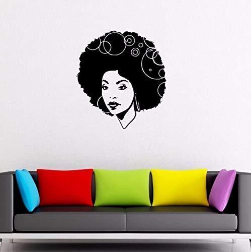 42X46Cm Wandaufkleber Friseur Dekor Schöne Afrikanerin Lockiges Haar Vinyl Wandtattoo Friseursalon Wandkunst Wandbild Vinyl Aufkleber