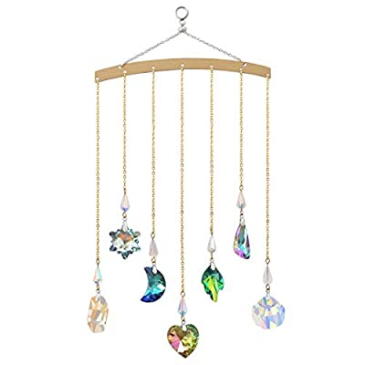 Crystal Ornament Wall Decor, Shining Colourful Crystal Pendants with Stainless Steel Chain Boho Home Decoration for Bedroom Living Room Apartment (Gold)