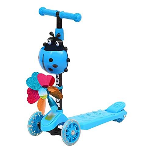 Patinete freestyle 3 scooters de rueda altura ajustable magro para dirigir, patear scooters con molino de viento Scooter plegable para niños pequeños para niños niños niños 3-8 años ( Color : A )