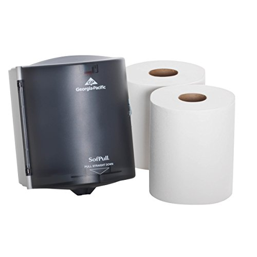 "SofPull Centerpull Regular Capacity Paper Towel Dispenser Trial Kit by GP PRO (Georgia-Pacific), Translucent Smoke, 58205, 9.250"" W x 8.750"" D x 11.500"" H [Contains 1 Dispenser (285204) and 2 Paper Towel Rolls (28124)]"