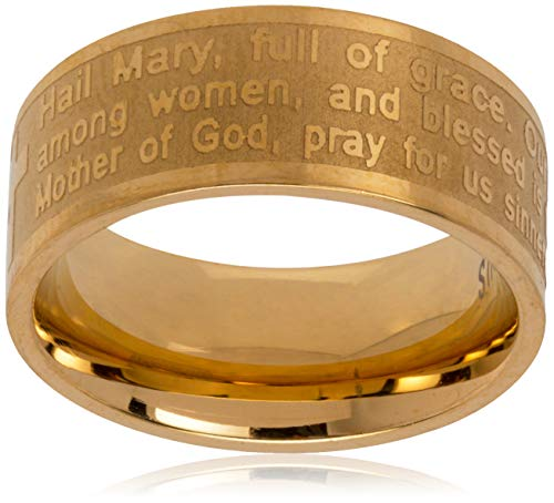 Steeltime 18k Gold Plated Hail Mary Prayer Ring, Size 6