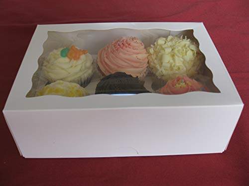 Turtle ProductsBox with Transparent Window and Inserts for 6Cupcakes, Pack of 4Pieces