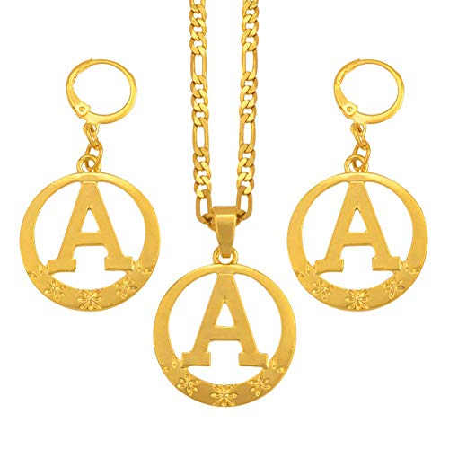 NCDFH Gold Color Round English Letter A to Z Alphabet t Necklaces Initial for Women Girls Jewelry Gifts #J0235 One Set Letter B 45cm by 3mm Chain
