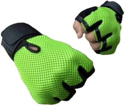5 O' CLOCK SPORTS Leather Gym Gloves with Wrist Support Band for Weight Lifting and Exercise for Men (Green)