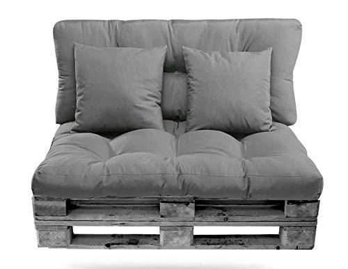 Conjunto de Cojines (Asiento + Respaldo + 2 Cojines Decorativos) para palets. Cojín de Palets y de sillones de 2 plazas. Ideal para Interior y Exterior (Gris)