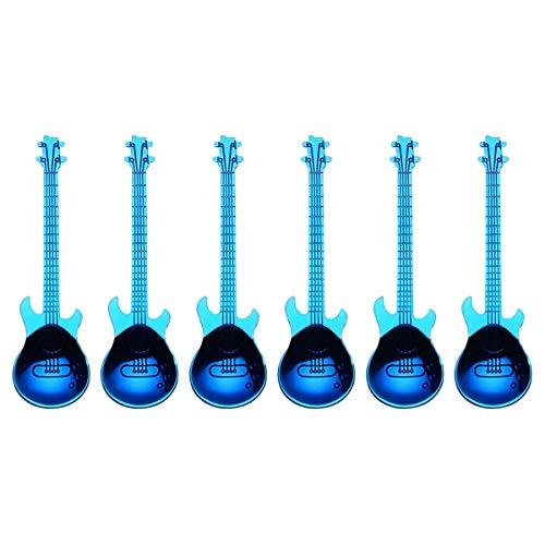 Timagebreze Gitarren Kaffee L?Ffel 6 Pack Kreative Sü?E L?Ffel Edelstahl Tee L?Ffel RüHr L?Ffel Gitarre Geformt (Blau)