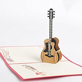 3D Popup Birthday Greeting Card Guitar Design for Music Fans Musical Instrument Fans for Boys Girls Husband Boyfriend's Birthday Thank You