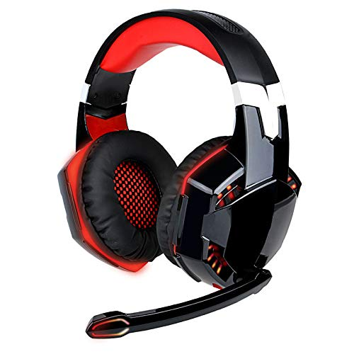 LIMTT Gaming Headset, Head-Mounted Stereo Gamer Hoofdtelefoon met Microfoon voor Computer E-Sports Rood