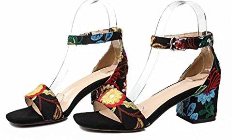 Folk-Custom Retro enkelriem Mid Heel Open teen sandalen voor vrouwen