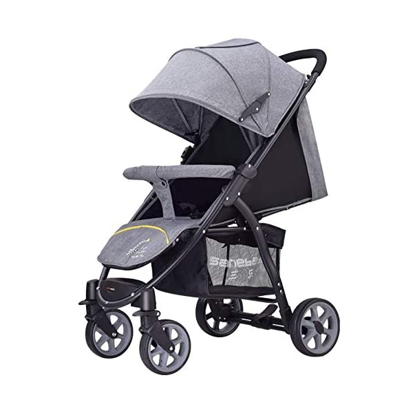 JXCC Baby Stroller High Landscape Children'S Shock Absorber Trolley Can Sit Reclining Baby Car Folding 0-3 Years Old -Safe And Stylish Grey JXCC IDEAL CHOICE FOR DAILY USING OR EXTEND TRAVEL - For families with a passion for local or overseas travel and exploring, it is the perfect priority as it stows away easily in any plane or train overhead bin, or just stowing away in the car BESREY CAPSULE BABY STROLLER WHICH IS SMALL BUT STRONG - Built using high quality, durable materials, the capsule stroller can hold a child from 6 months up to 36 months. BESREY SMALLEST FOLDING STROLLER - With its innovative two-step folding design, the stroller folding down to 84 x 40 x 44CM and a weight of 9KG. 1